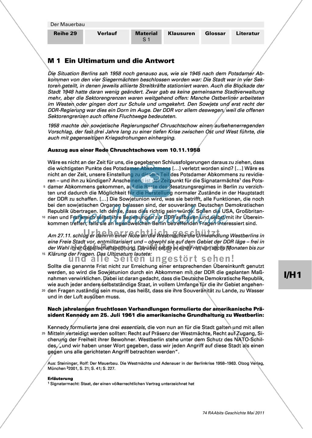 Mauerbau: Text: Rede von Chruschtschow am 10.11.1958 + Text: Kennedys Grundhaltung zu Westberlin vom 25.07.1961 + Tabelle: Flüchtlingszahlen + Karikaturen zum Mauerbau +  Stationenpass Preview 0