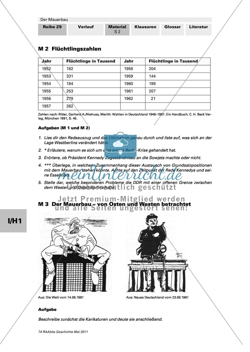 Mauerbau: Text: Rede von Chruschtschow am 10.11.1958 + Text: Kennedys Grundhaltung zu Westberlin vom 25.07.1961 + Tabelle: Flüchtlingszahlen + Karikaturen zum Mauerbau +  Stationenpass Preview 1