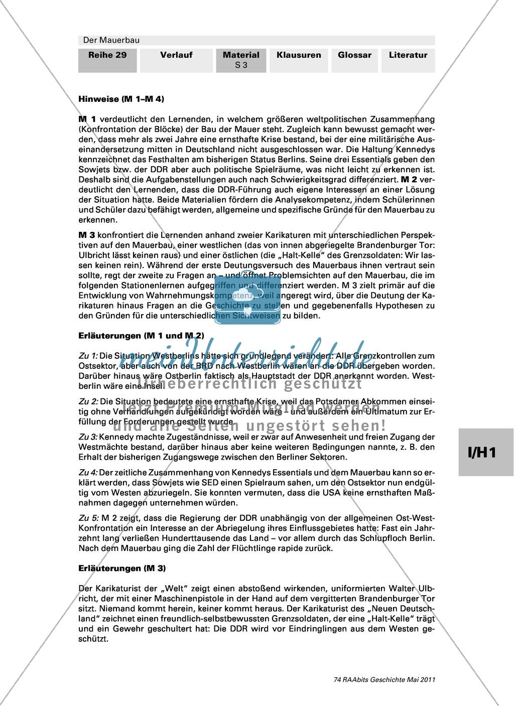Mauerbau: Text: Rede von Chruschtschow am 10.11.1958 + Text: Kennedys Grundhaltung zu Westberlin vom 25.07.1961 + Tabelle: Flüchtlingszahlen + Karikaturen zum Mauerbau +  Stationenpass Preview 2