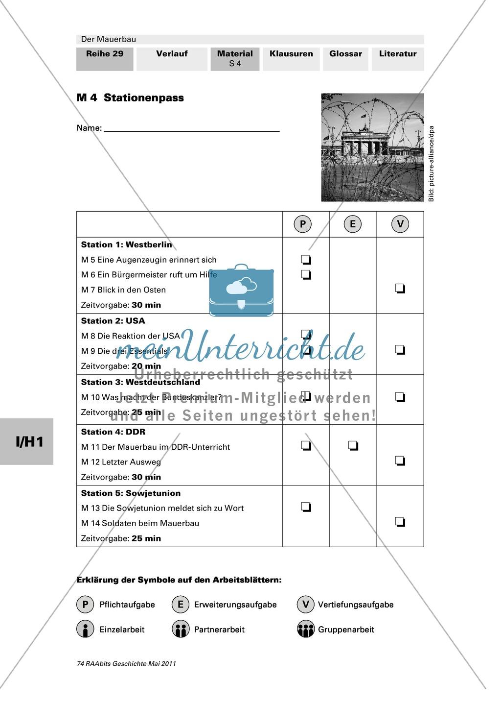 Mauerbau: Text: Rede von Chruschtschow am 10.11.1958 + Text: Kennedys Grundhaltung zu Westberlin vom 25.07.1961 + Tabelle: Flüchtlingszahlen + Karikaturen zum Mauerbau +  Stationenpass Preview 3