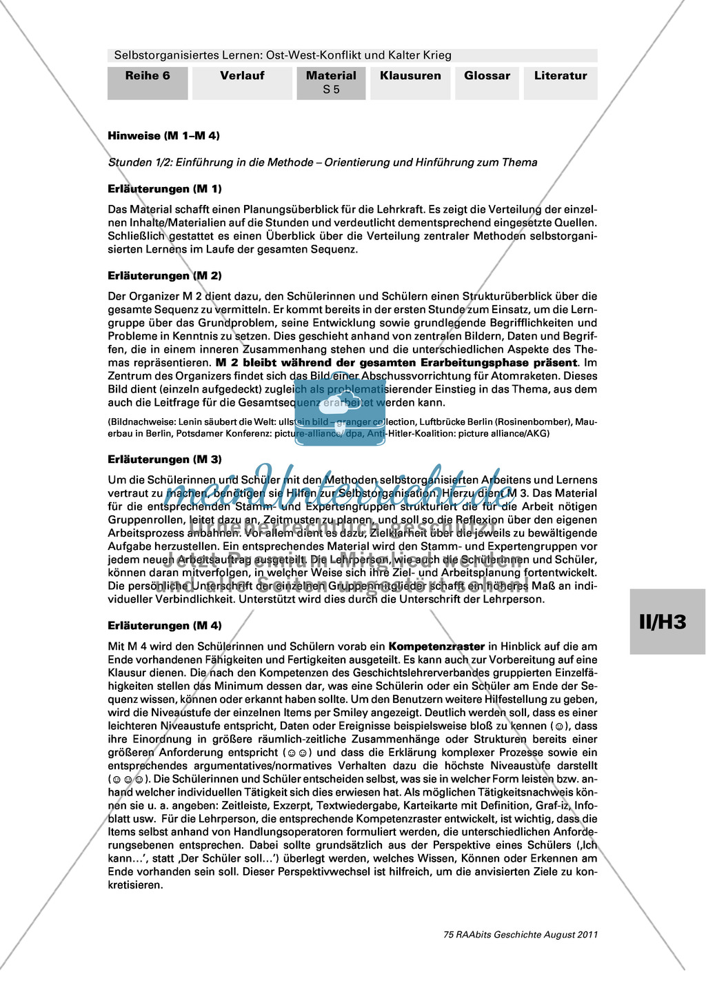 Selbstorganisiertes Lernen: Ost-West-Konflikt und Kalter Krieg: Einführung in die Methode und Hinführung zum Thema + Ziel- und Arbeitsplanung + Kompetenzraster Preview 4