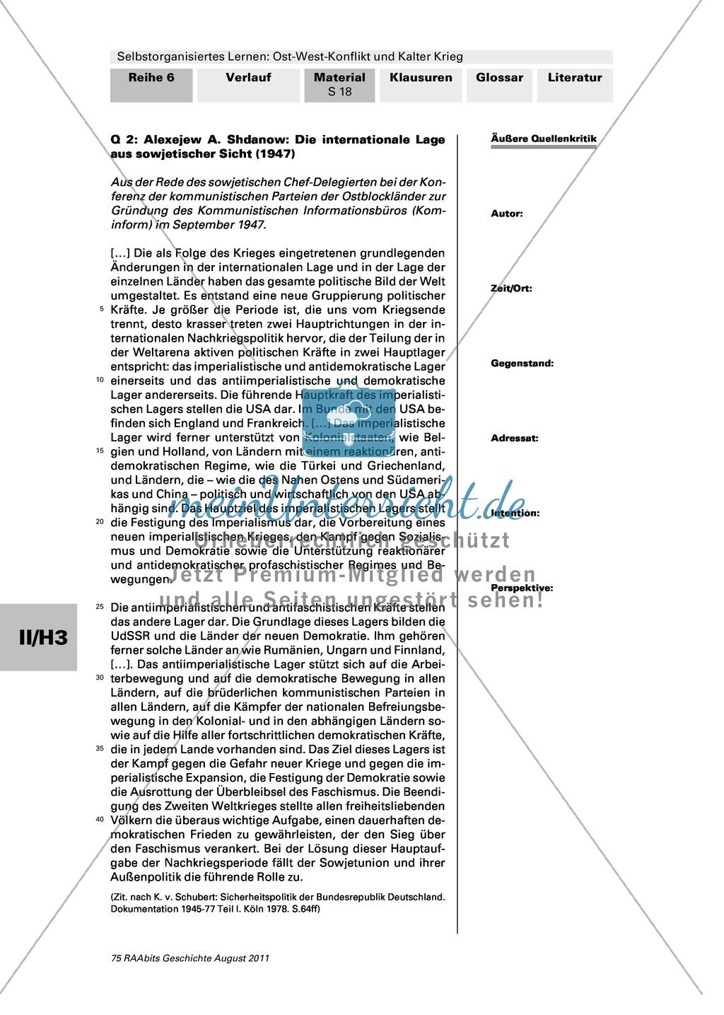Selbstorganisiertes Lernen: Ost-West-Konflikt und Kalter Krieg: Der ...