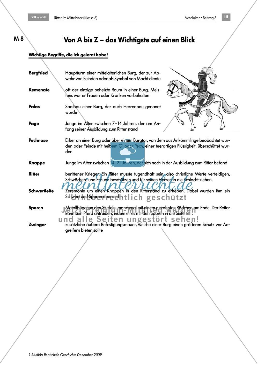 Das Leben der Ritter im Mittelalter: Lernerfolgskontrolle zum Thema Ritter im Mittelalter Preview 2