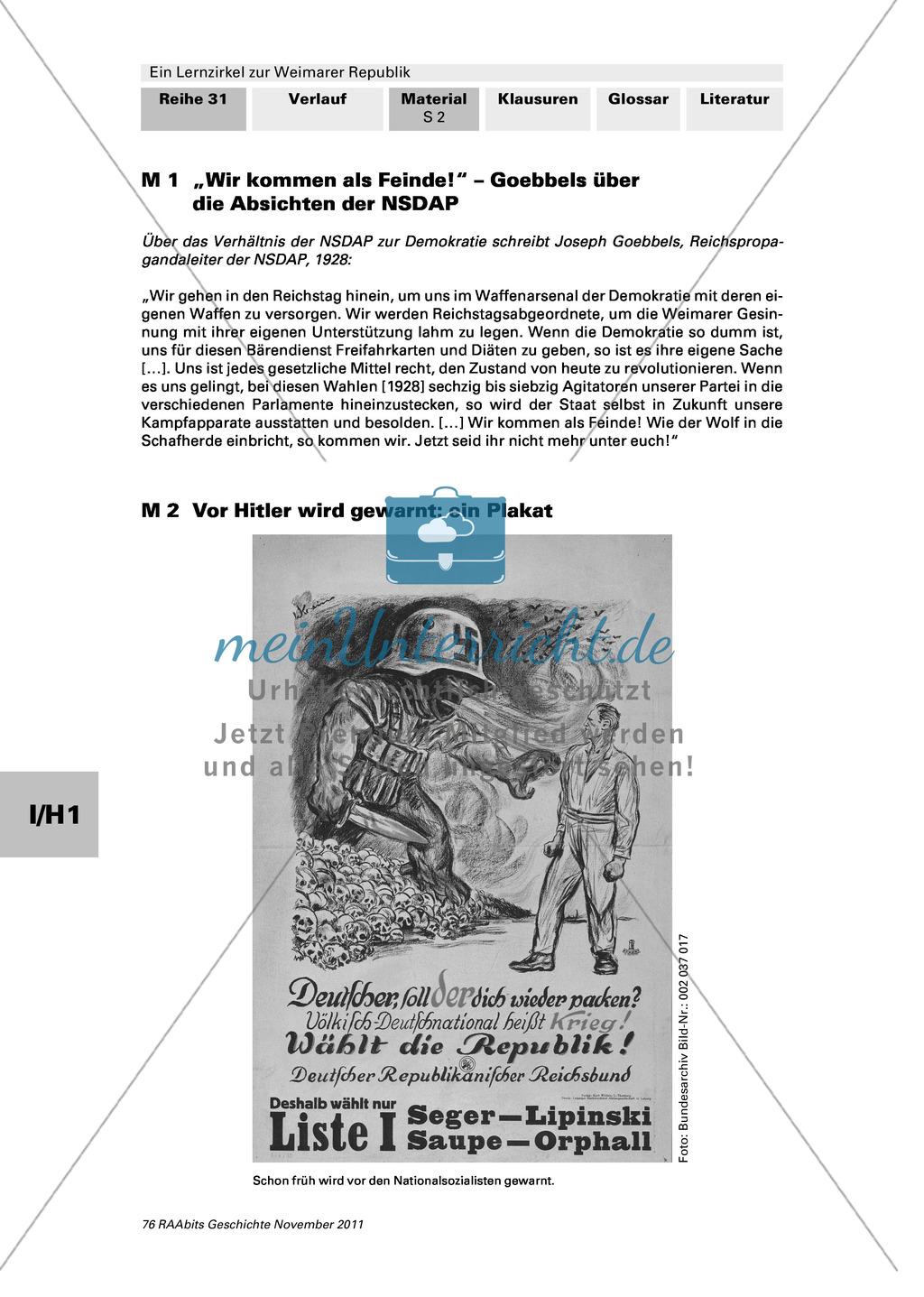 Lernzirkel zur Weimarer Republik und den Ursachen ihres Scheiterns:Ursachen für die Abwahl der ersten Demokratie auf deutschem Boden Preview 0