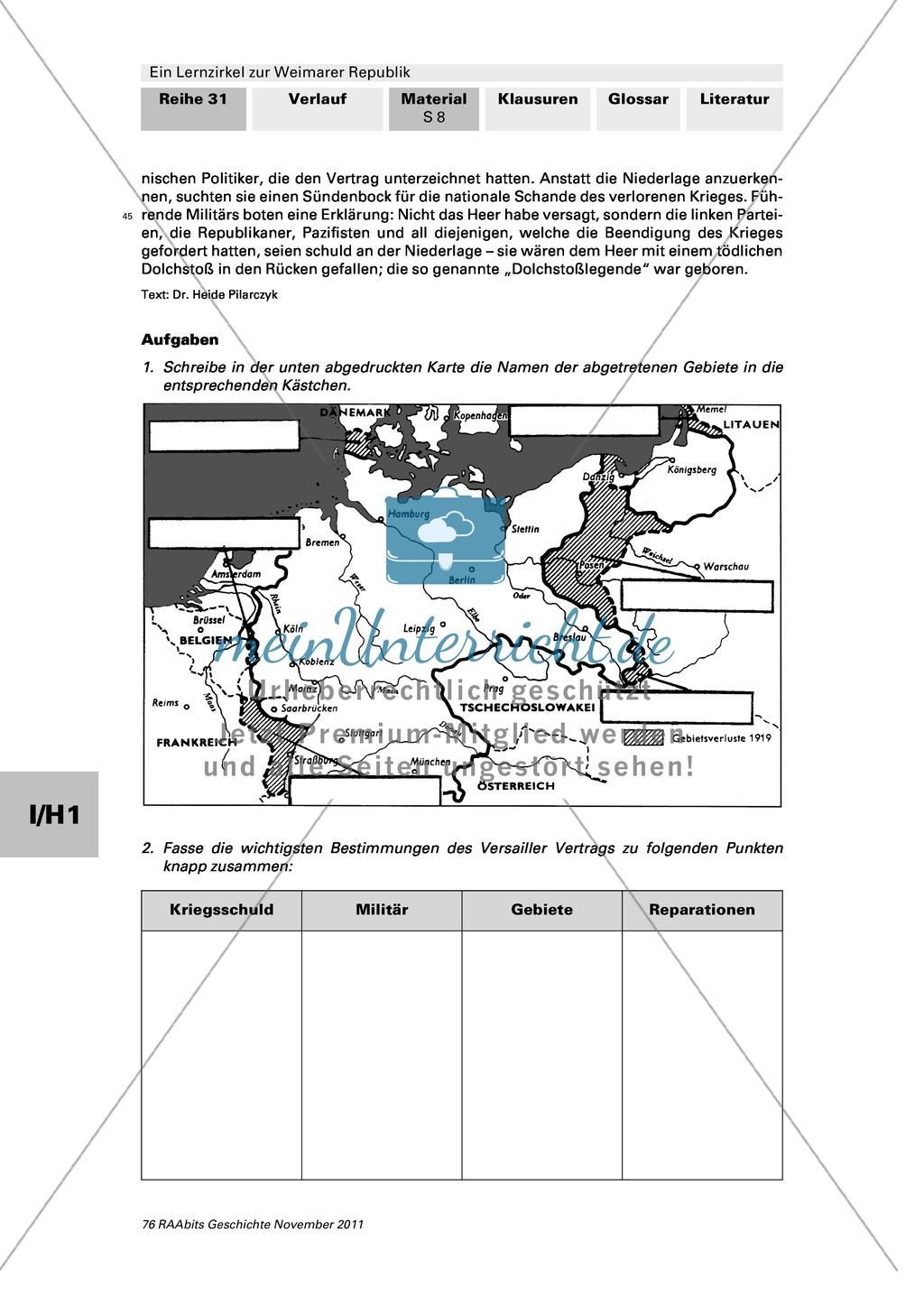 Lernzirkel zur Weimarer Republik und den Ursachen ihres Scheiterns: Station zum Versailler Vertrag Preview 1