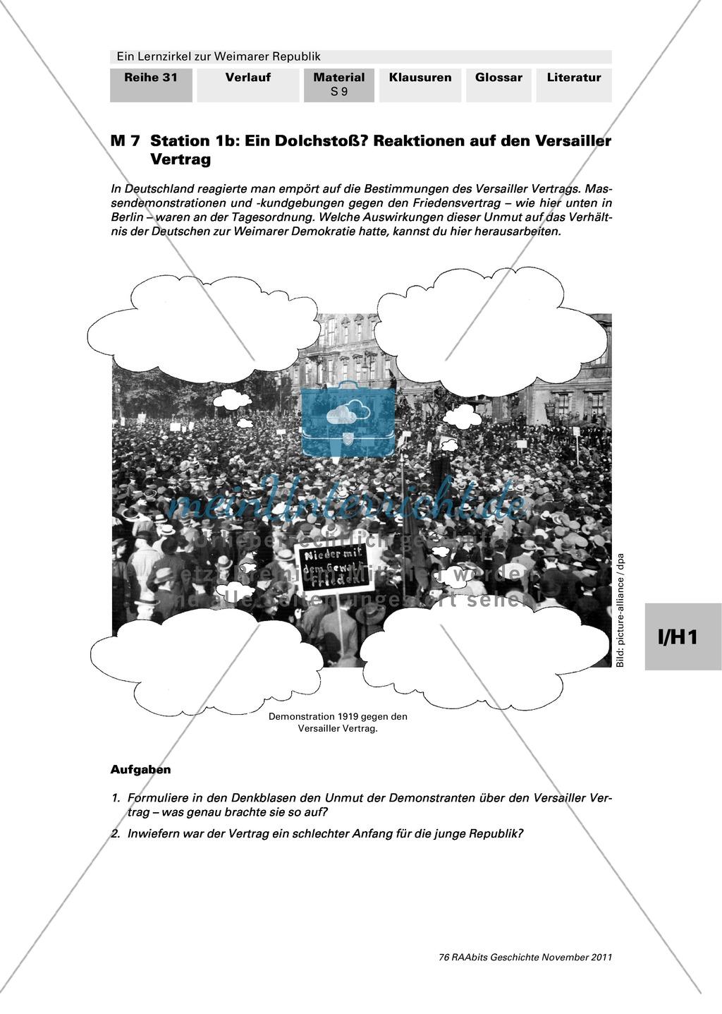 Lernzirkel zur Weimarer Republik und den Ursachen ihres Scheiterns: Station zum Versailler Vertrag Preview 2