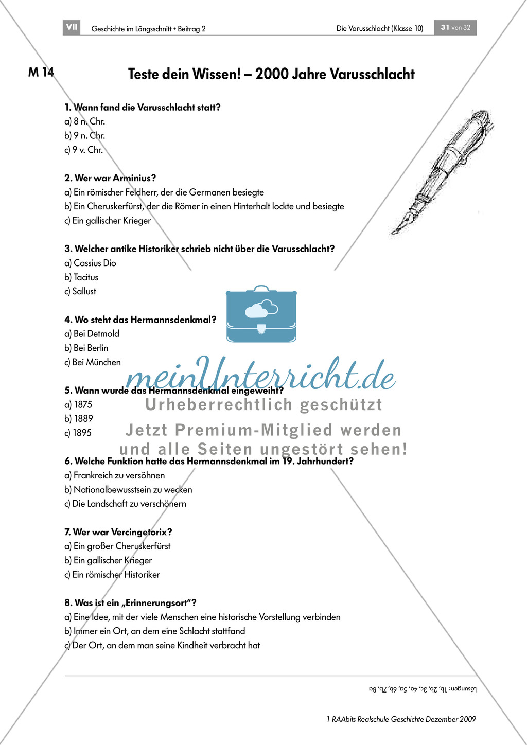 Die Varusschlacht: Lernerfolgskontrolle - Multiple-Choice-Test Preview 1