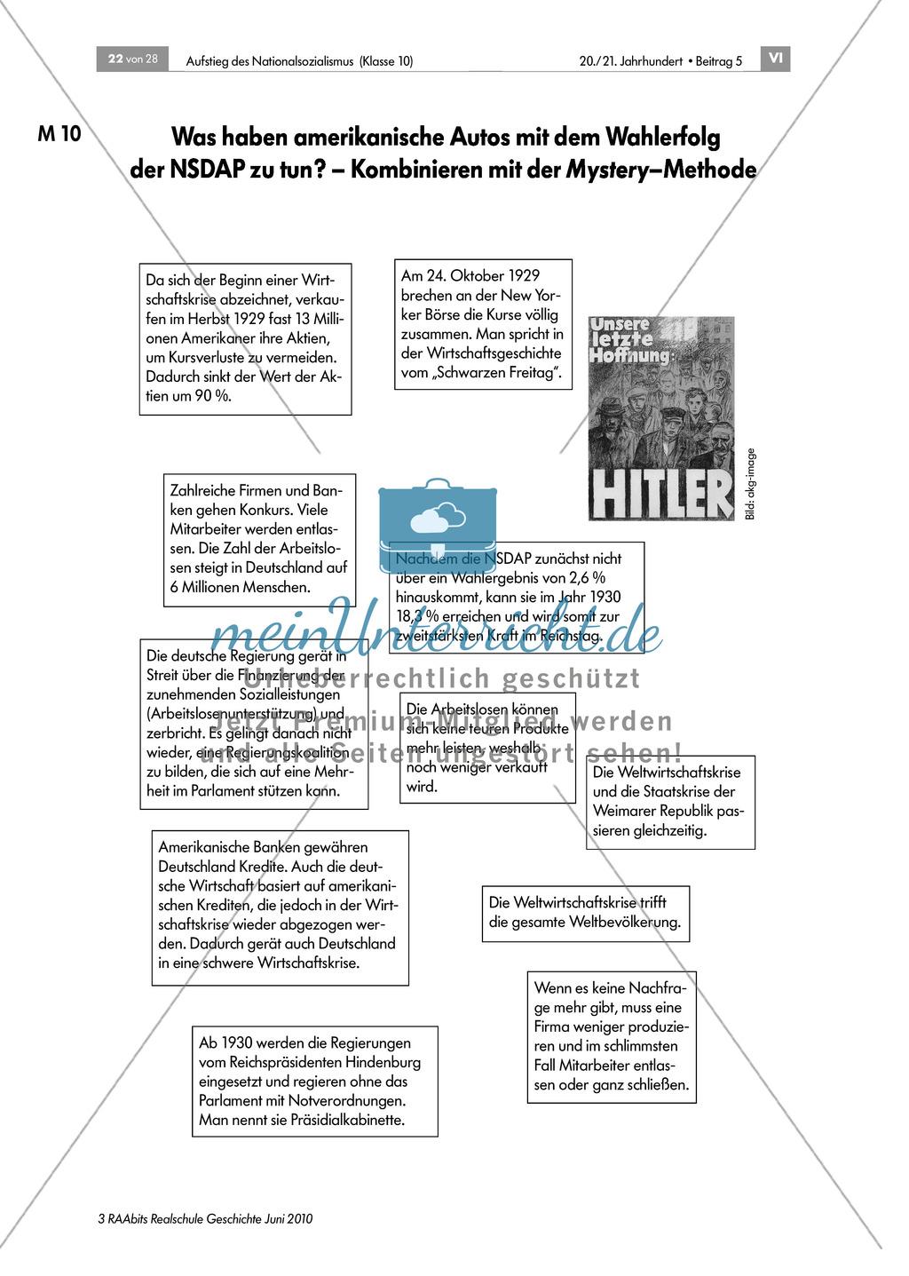 Wirtschaftskriese und Wahlerfolg der NSDAP anhand der Mystery Methode Preview 0