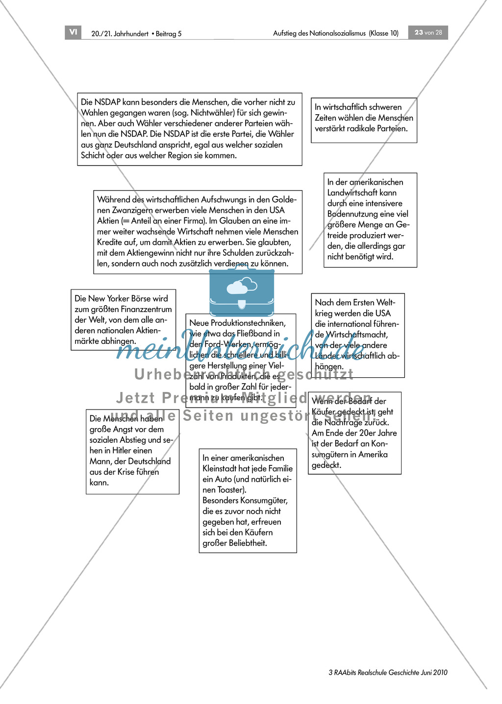 Wirtschaftskriese und Wahlerfolg der NSDAP anhand der Mystery Methode Preview 1