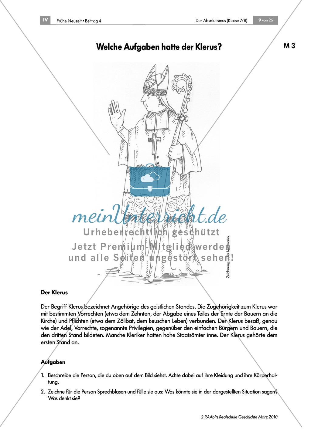 Der Absolutismus: Die französische Ständegesellschaft Preview 2