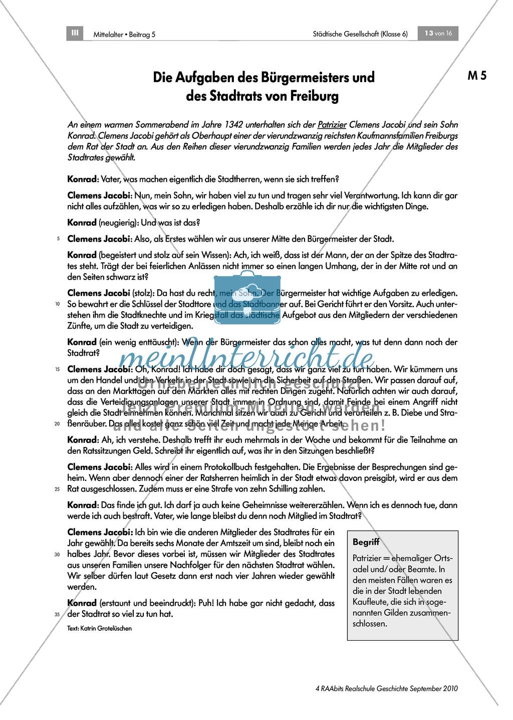 Von Zünften und Stadtherren - gesellschaftliche Strukturen in der mittelalterlichen Stadt: Rolle und Aufgaben des Bürgermeisters und des Stadtrates Preview 1
