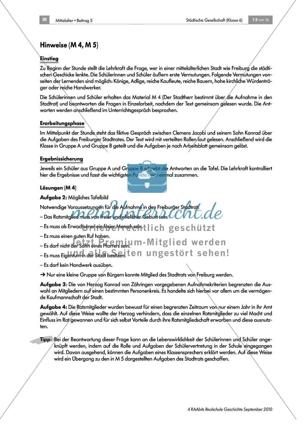Von Zünften und Stadtherren - gesellschaftliche Strukturen in der mittelalterlichen Stadt: Rolle und Aufgaben des Bürgermeisters und des Stadtrates Preview 3