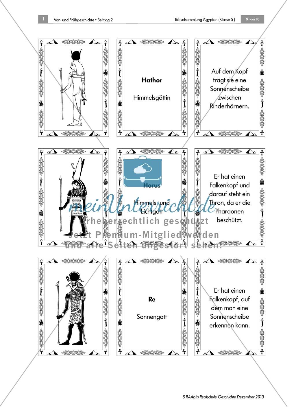 Rätselsammlung Ägypten: Im Götter-Tritett Namen, Attribute und Funktion der ägypt. Götter benennen Preview 2