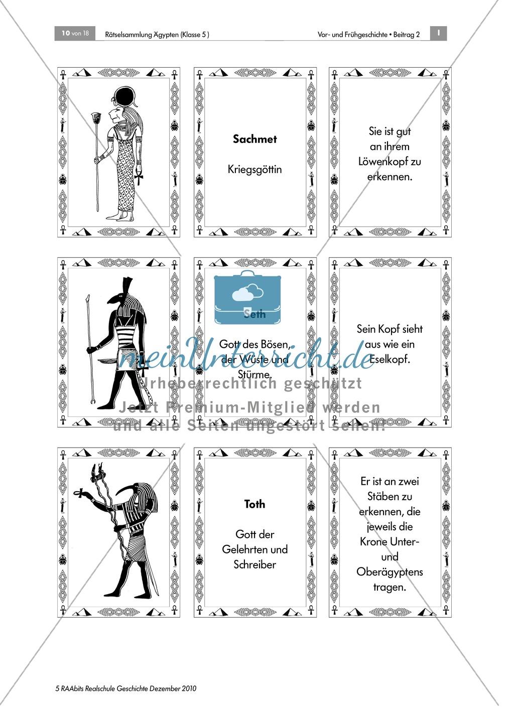Rätselsammlung Ägypten: Im Götter-Tritett Namen, Attribute und Funktion der ägypt. Götter benennen Preview 3