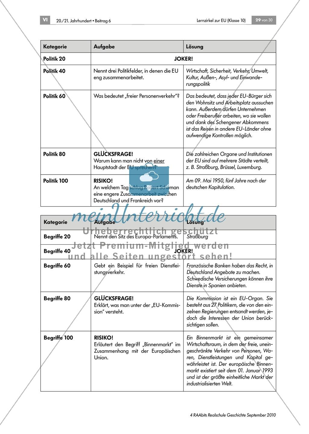 Lernzirkel zur Europäischen Union: Lernerfolgskontrolle zum Thema Preview 3
