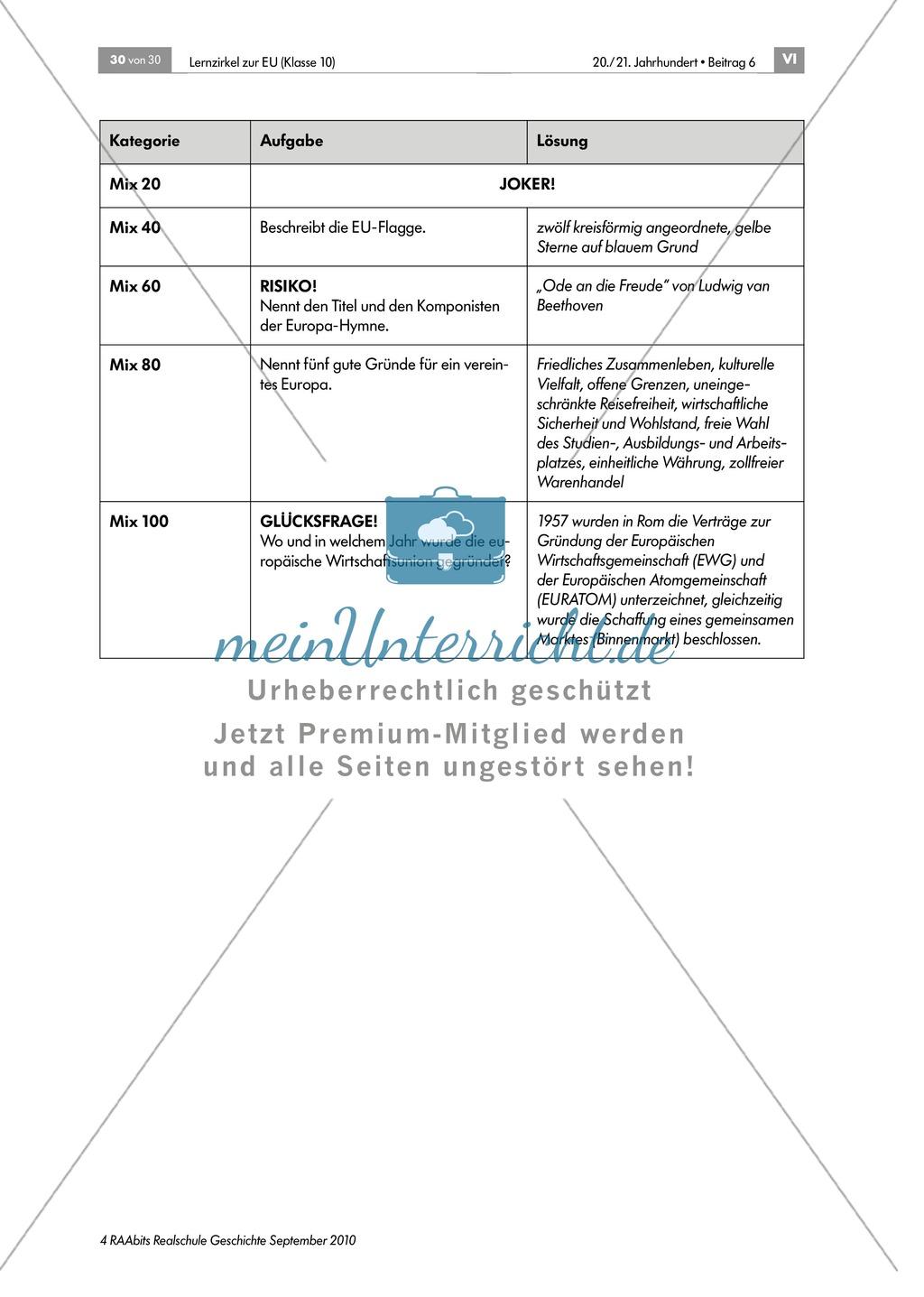 Lernzirkel zur Europäischen Union: Lernerfolgskontrolle zum Thema Preview 4