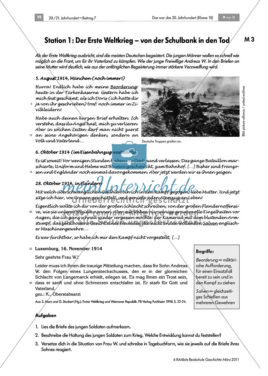 Die Geschichte Deutschlands im 20. Jahrhundert: Lerntheke zum Thema Preview 1