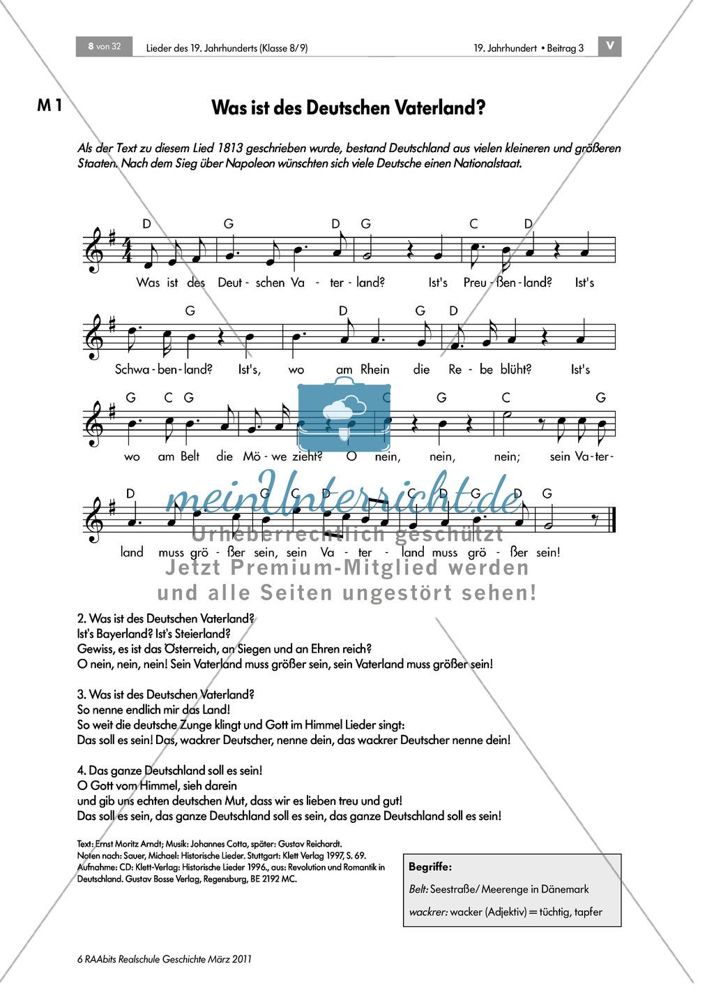 Lieder des 19. Jahrhunderts: Ein Kampflied zu den Befreiungskriegen:
