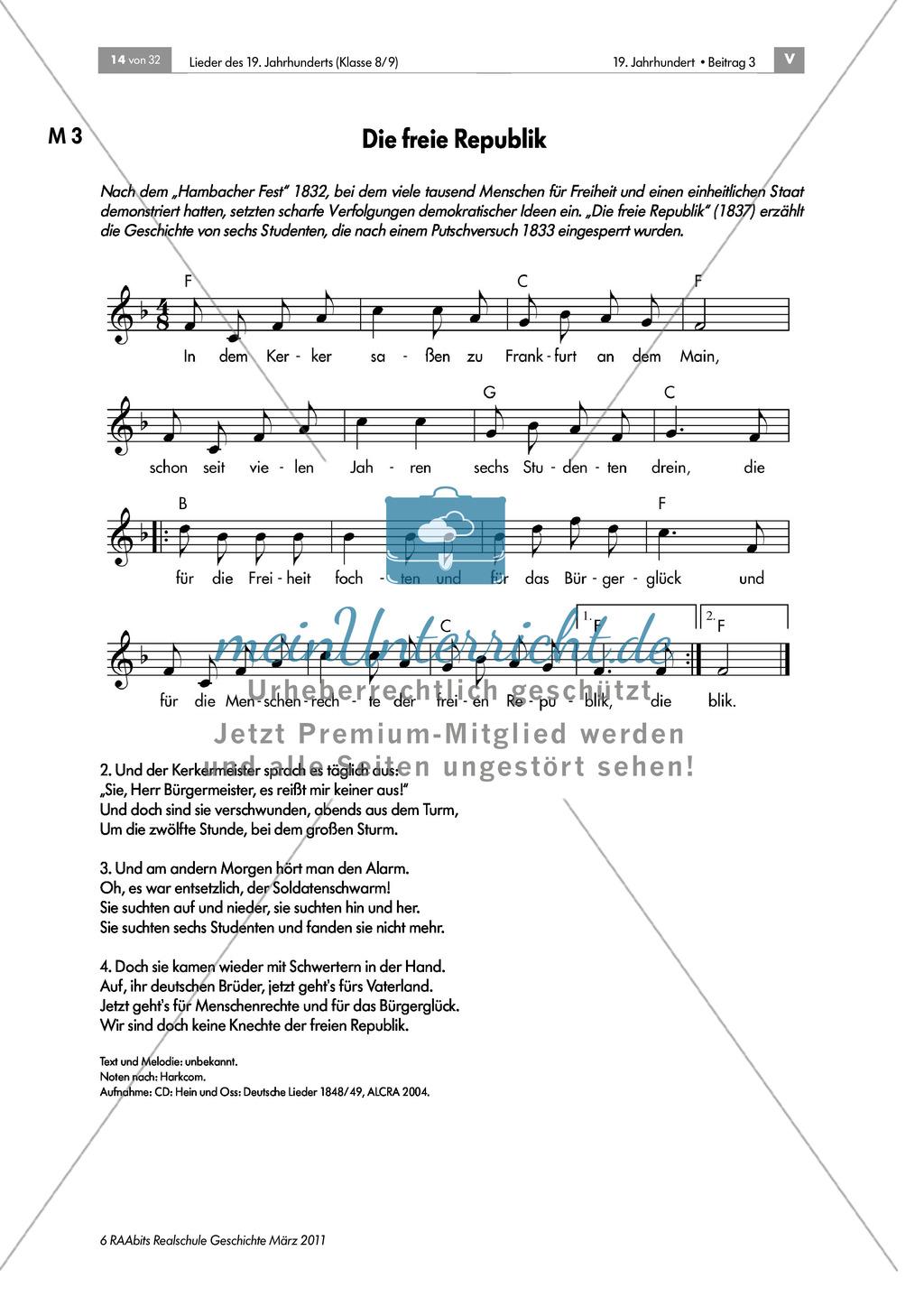 Lieder des 19. Jahrhunderts: Studentenlied aus der Zeit des Vormärz:
