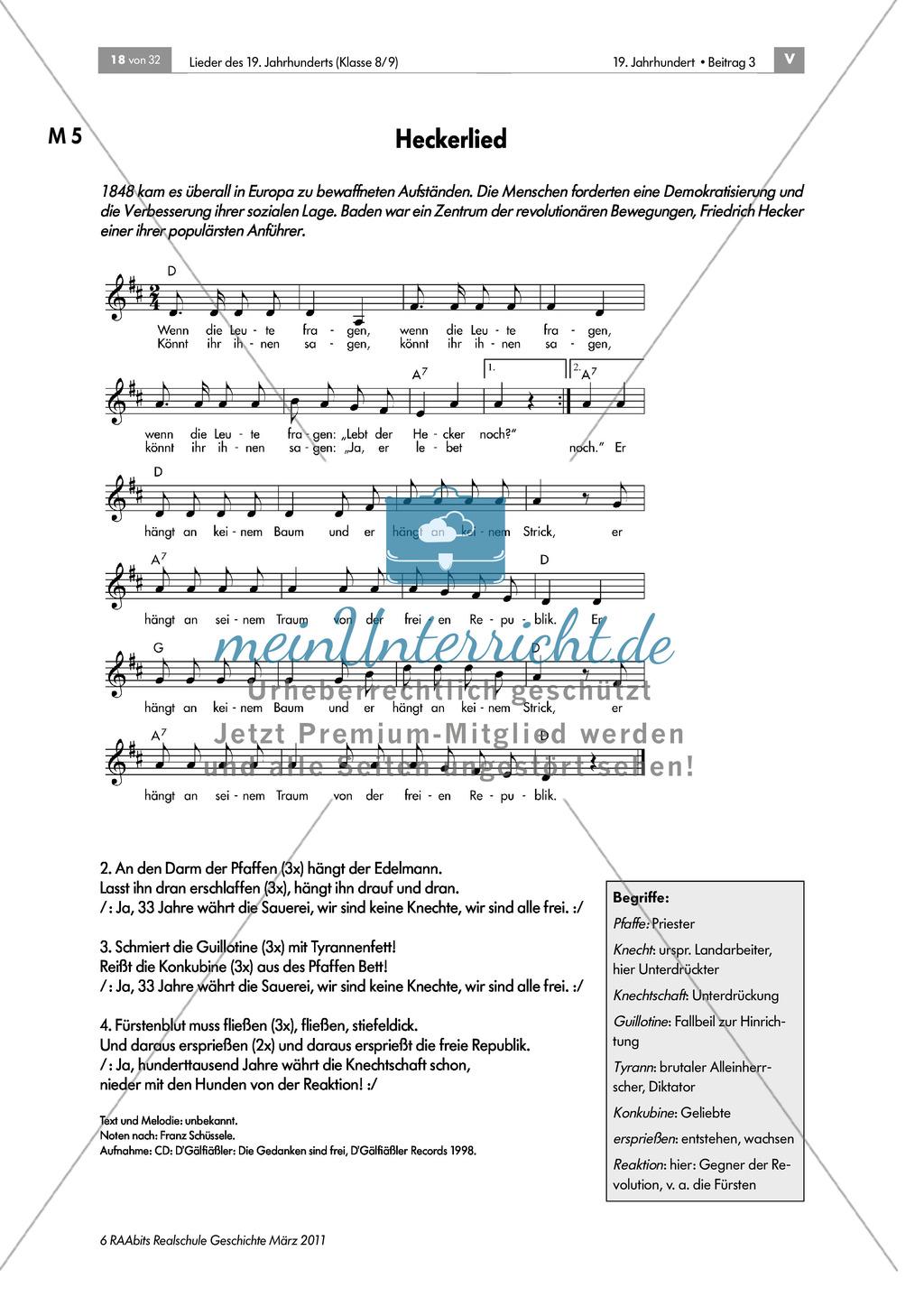 """Lieder des 19. Jahrhunderts: Revolutionslied von 1848/49: """"Heckerlied"""" + grafische Darstellung des Melodieverlaufs erstellen + Biografie Friedrich Hecker erarbeiten + Poster erstellen Preview 1"""