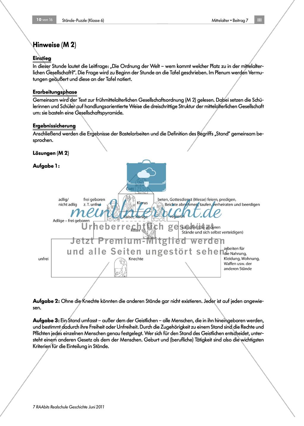 Ständegesellschaft im Mittelalter. Preview 2