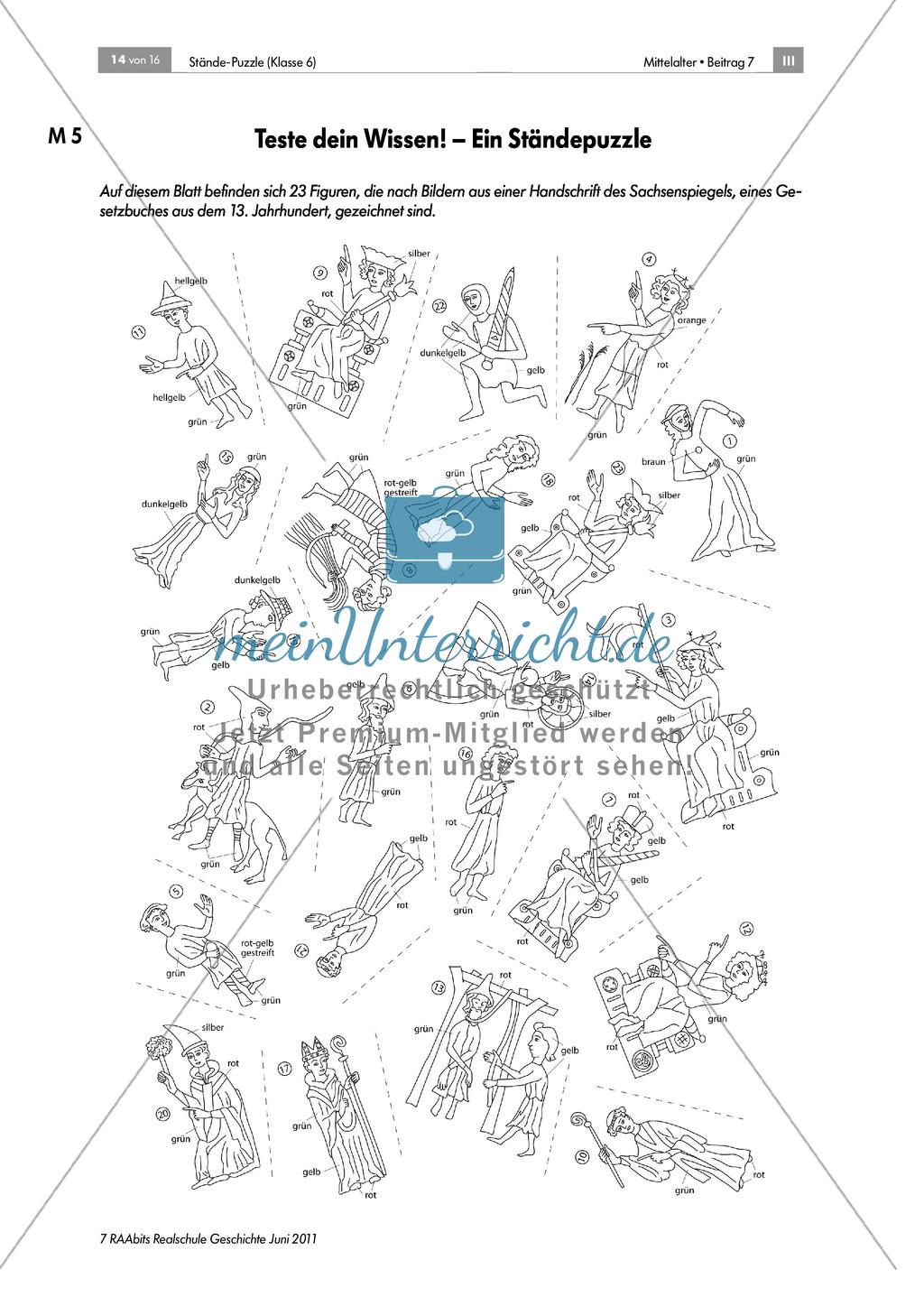 Ständegesellschaft im Mittelalter: Lernerfolgskontrolle anhand eines Puzzles zur Ständegesellschaft Preview 0