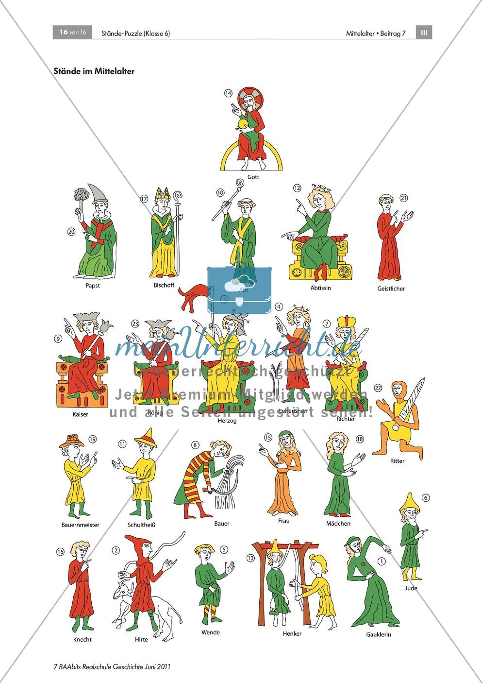 Ständegesellschaft im Mittelalter: Lernerfolgskontrolle anhand eines Puzzles zur Ständegesellschaft Preview 2