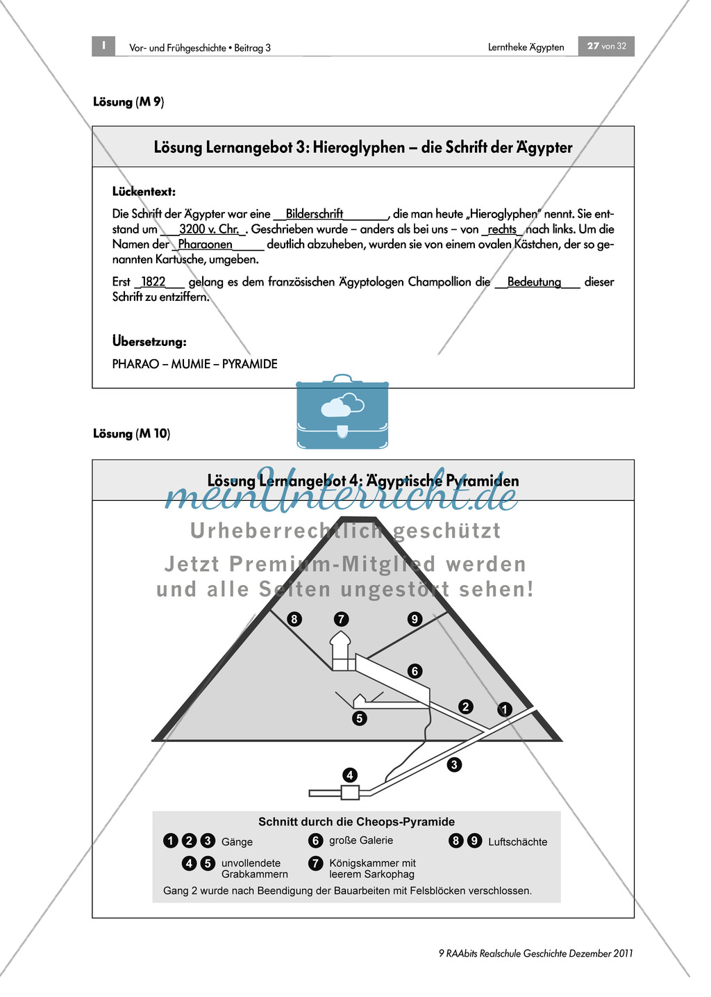 Ägyptische Pyramiden: Aufbau und Beschriftung des Querschnitts + ...