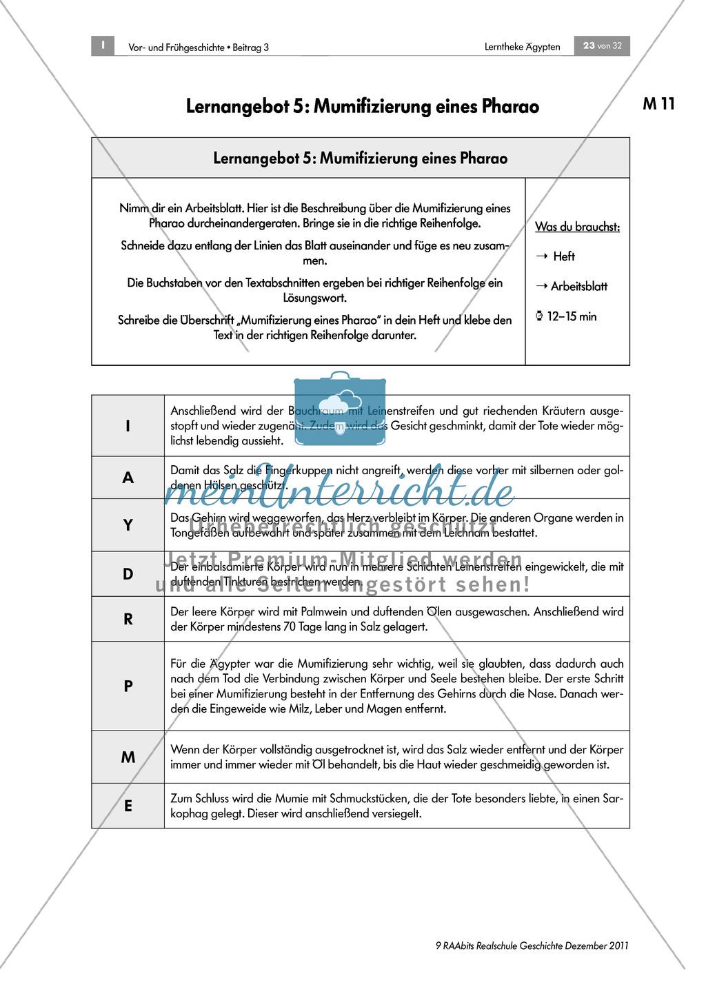 Mumifizierung eines Pharao + didaktische Hinweise - meinUnterricht