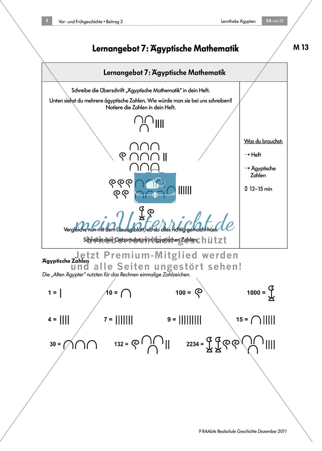 Ägyptische Mathematik: Zahlen und Aufgaben + didaktische Hinweise Preview 0