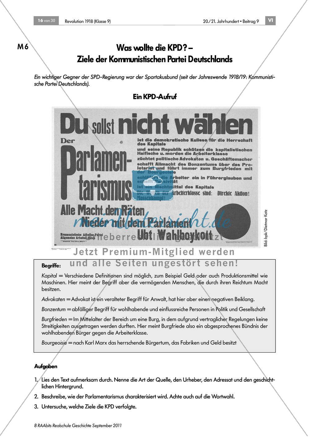 Quellen, Plakate, Flugblätter zum Spartakusbund und zur KPD in der Weimarer Republik mit Aufgaben Preview 0