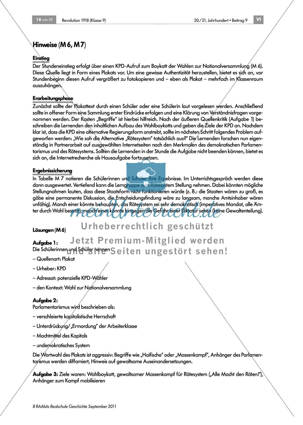 Quellen, Plakate, Flugblätter zum Spartakusbund und zur KPD in der Weimarer Republik mit Aufgaben Preview 1