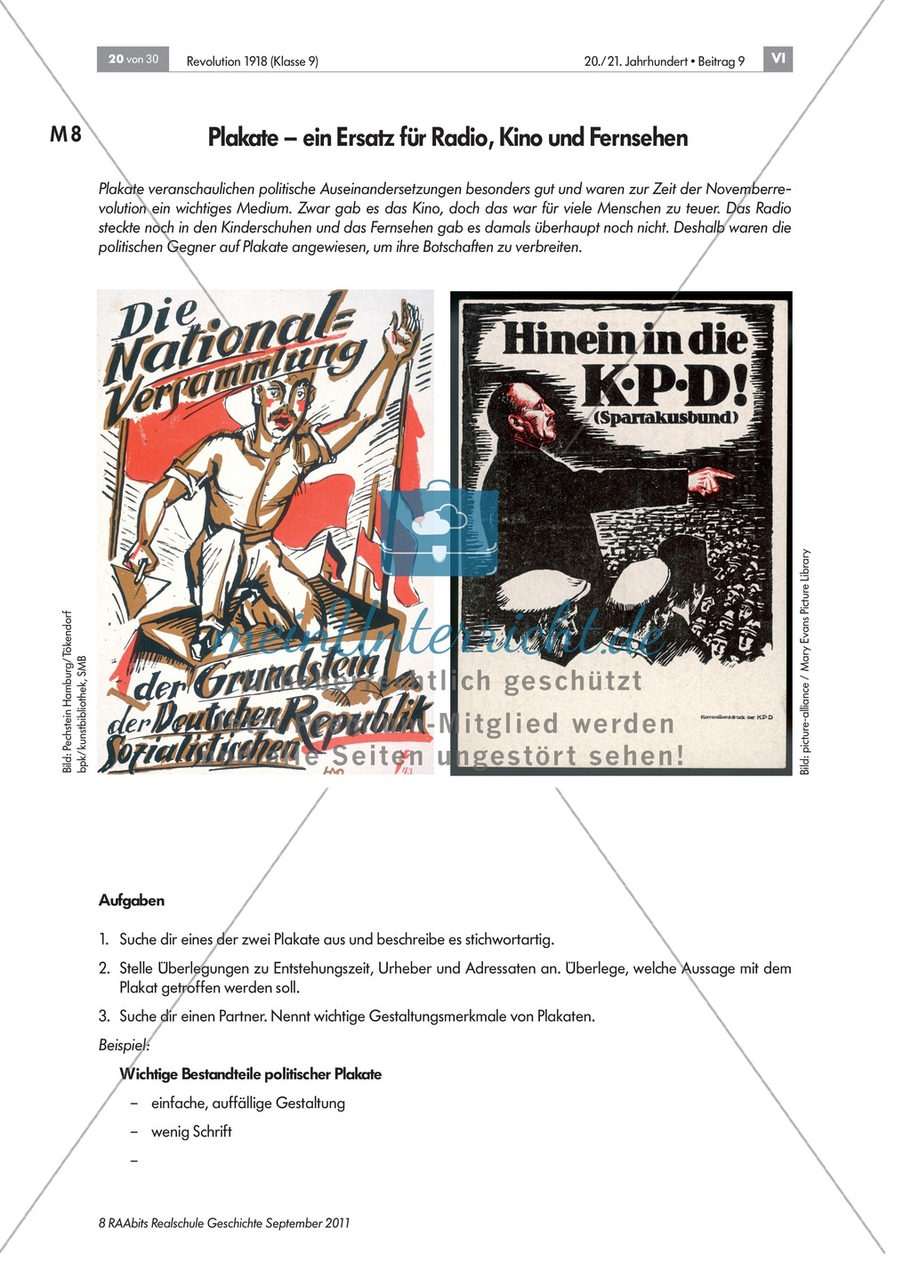 Quellen, Plakate, Flugblätter zum Spartakusbund und zur KPD in der Weimarer Republik mit Aufgaben Preview 3