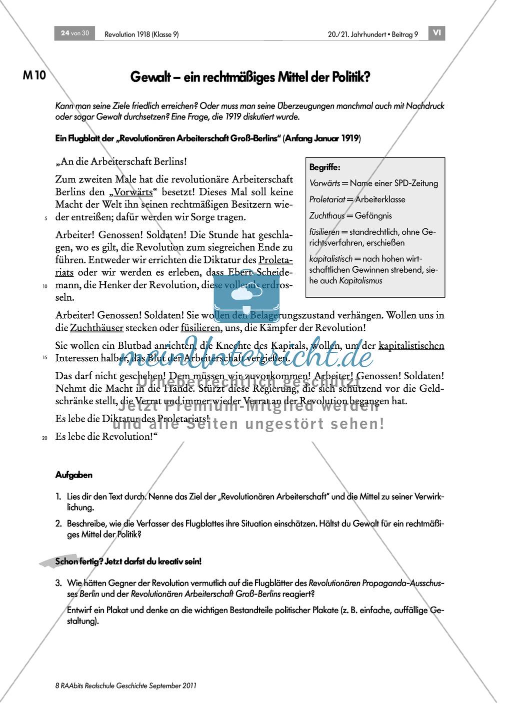 Quellen, Plakate, Flugblätter zum Spartakusbund und zur KPD in der Weimarer Republik mit Aufgaben Preview 6