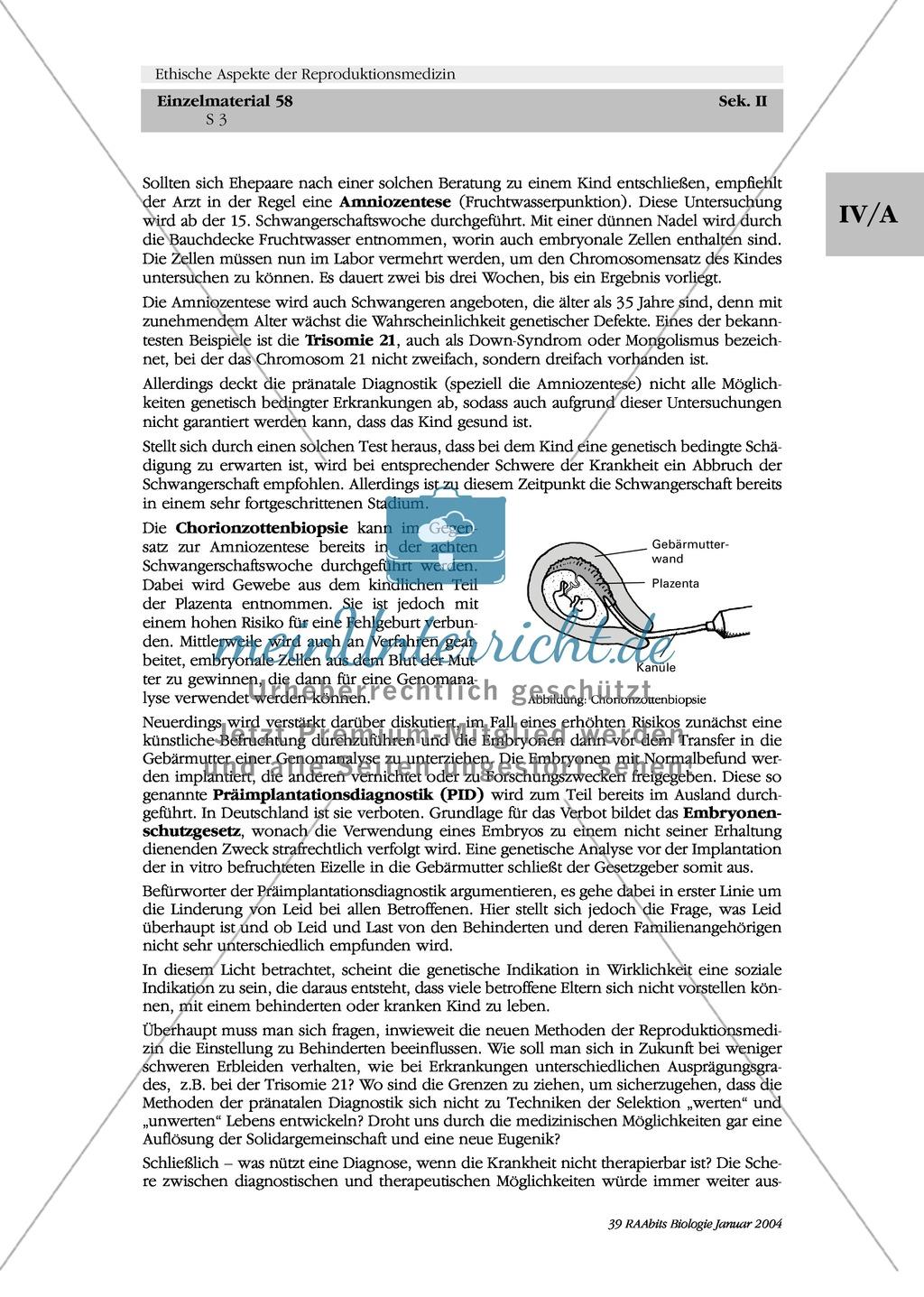 Ethische Aspekte der Reproduktionsgenetik: Pränatale Diagnostik und ...