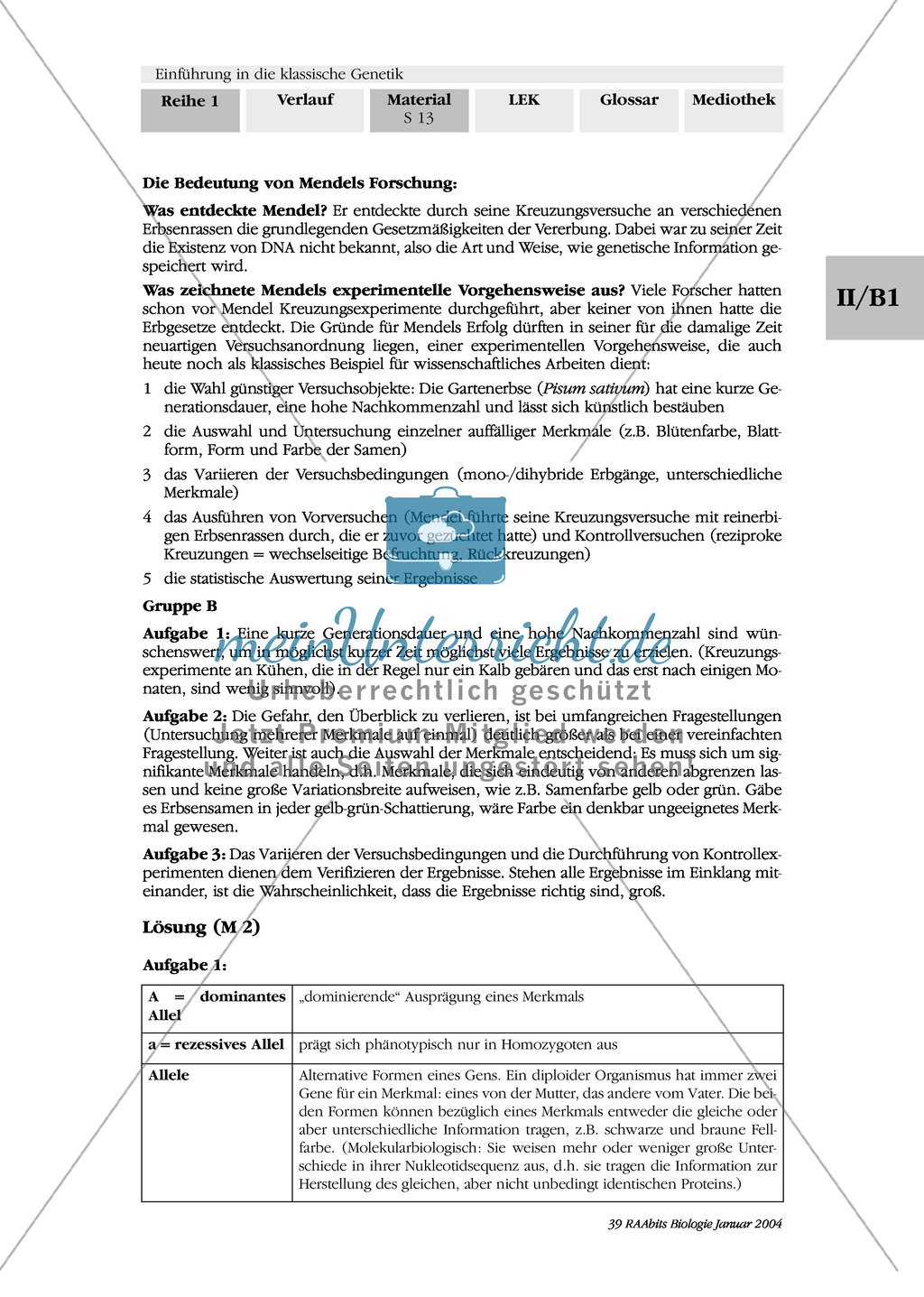 Klassische Genetik: Mendel`sche Regeln - Begriffe, Regeln, Kodominanz Preview 9