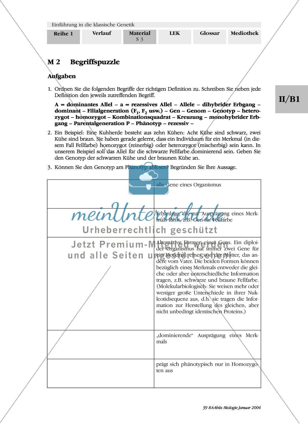 Klassische Genetik: Mendel`sche Regeln - Begriffe, Regeln, Kodominanz Preview 0
