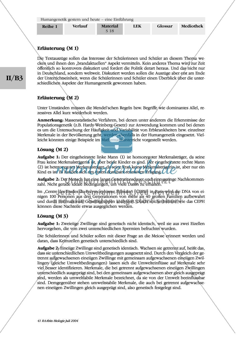 Einführung in die klassischen Methoden der Humangenetik - mit Aufgaben Preview 3