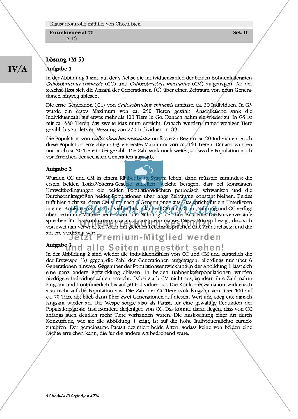 Klausur und Kontroll-Checkliste: Untersuchungen an Bohnenkäferpopulationen Preview 2