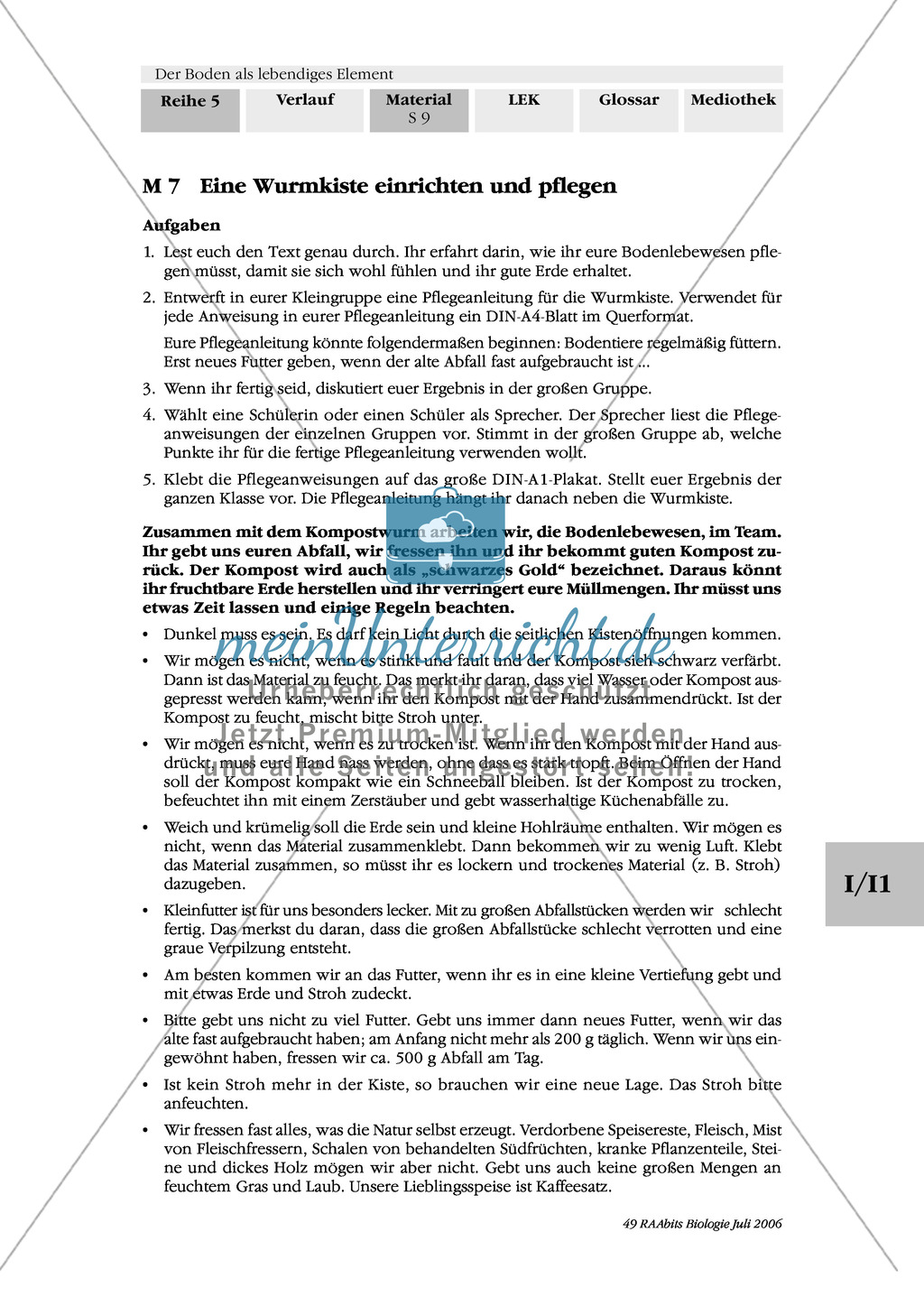 Ansetzen, Entstehung und Pflege des Komposts: Stoffkreislauf, Text Preview 1