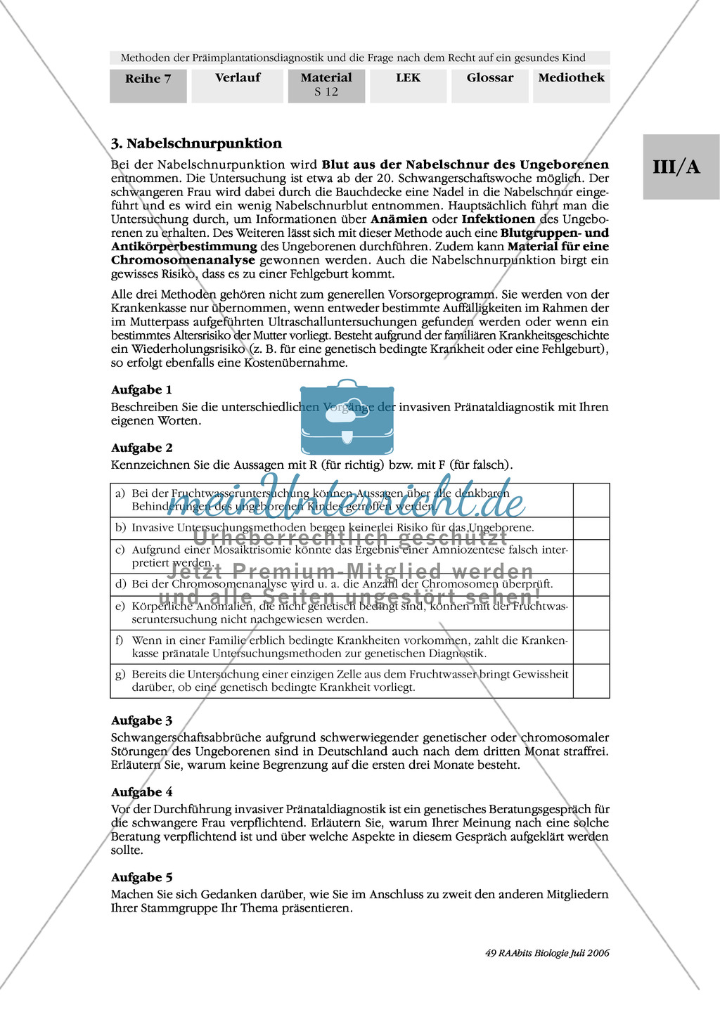Text zur Entwicklung der befruchteten Eizelle und Gruppenpuzzle zur Präimplantationsdiagnostik und Pränataldiagnostik Preview 9