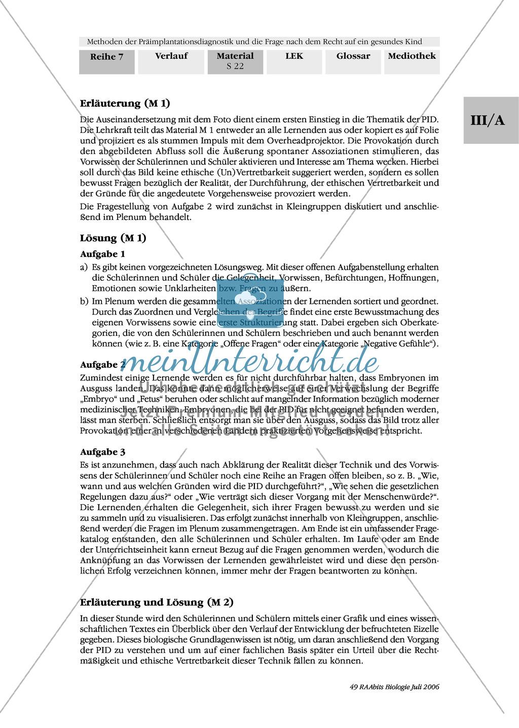 Text zur Entwicklung der befruchteten Eizelle und Gruppenpuzzle zur Präimplantationsdiagnostik und Pränataldiagnostik Preview 11