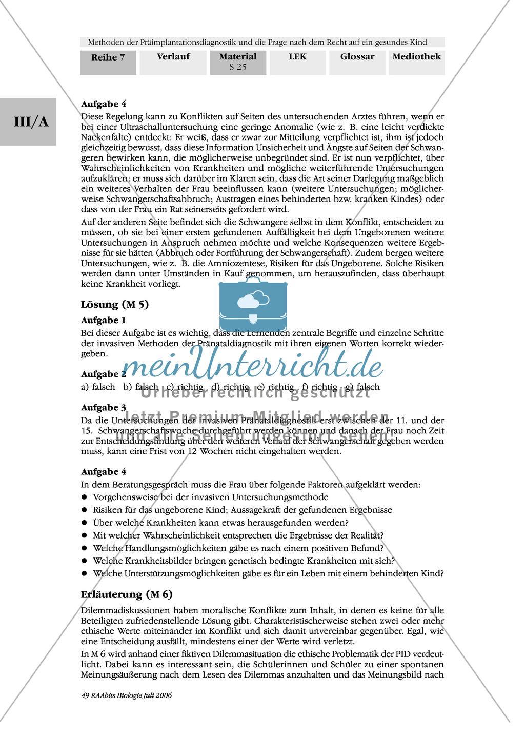 Text zur Entwicklung der befruchteten Eizelle und Gruppenpuzzle zur Präimplantationsdiagnostik und Pränataldiagnostik Preview 15