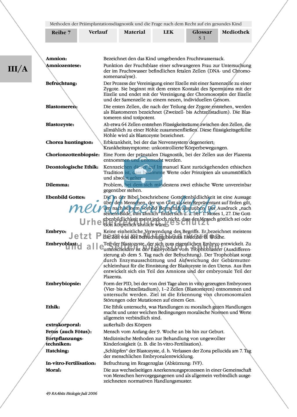 Text zur Entwicklung der befruchteten Eizelle und Gruppenpuzzle zur Präimplantationsdiagnostik und Pränataldiagnostik Preview 16