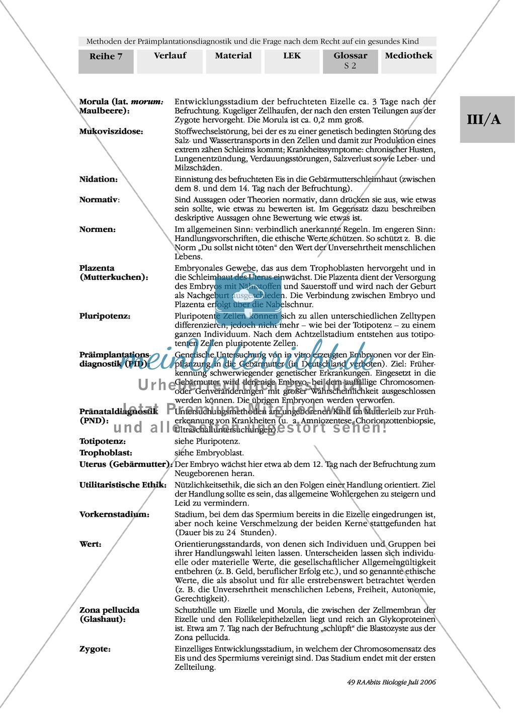 Text zur Entwicklung der befruchteten Eizelle und Gruppenpuzzle zur Präimplantationsdiagnostik und Pränataldiagnostik Preview 17