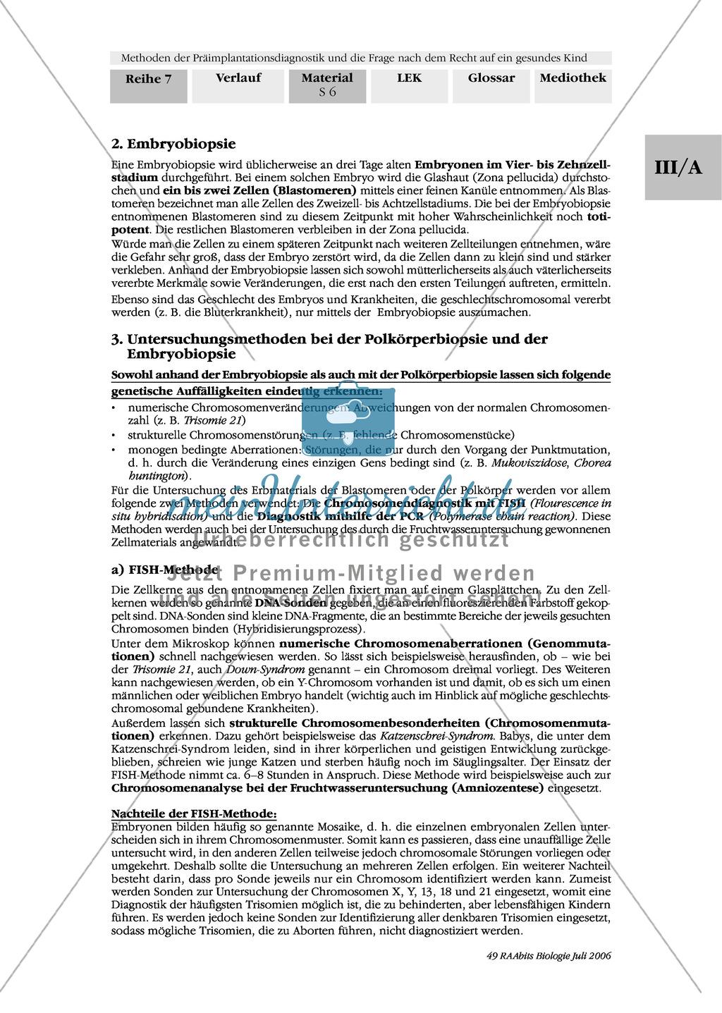 Text zur Entwicklung der befruchteten Eizelle und Gruppenpuzzle zur Präimplantationsdiagnostik und Pränataldiagnostik Preview 4