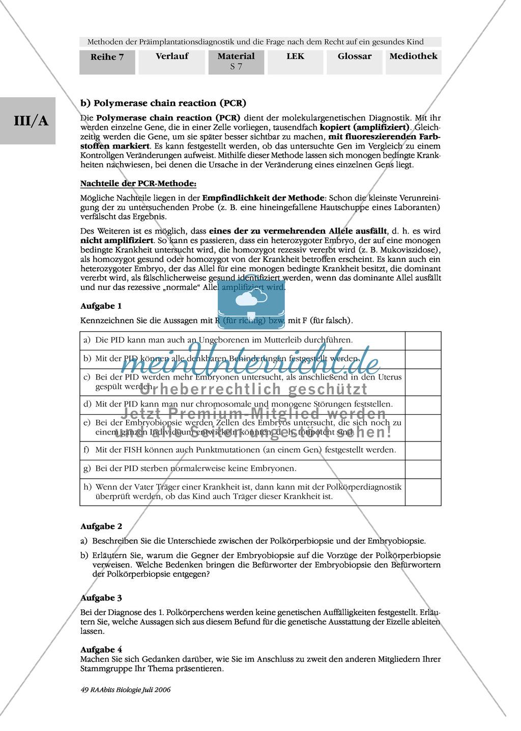 Text zur Entwicklung der befruchteten Eizelle und Gruppenpuzzle zur Präimplantationsdiagnostik und Pränataldiagnostik Preview 5