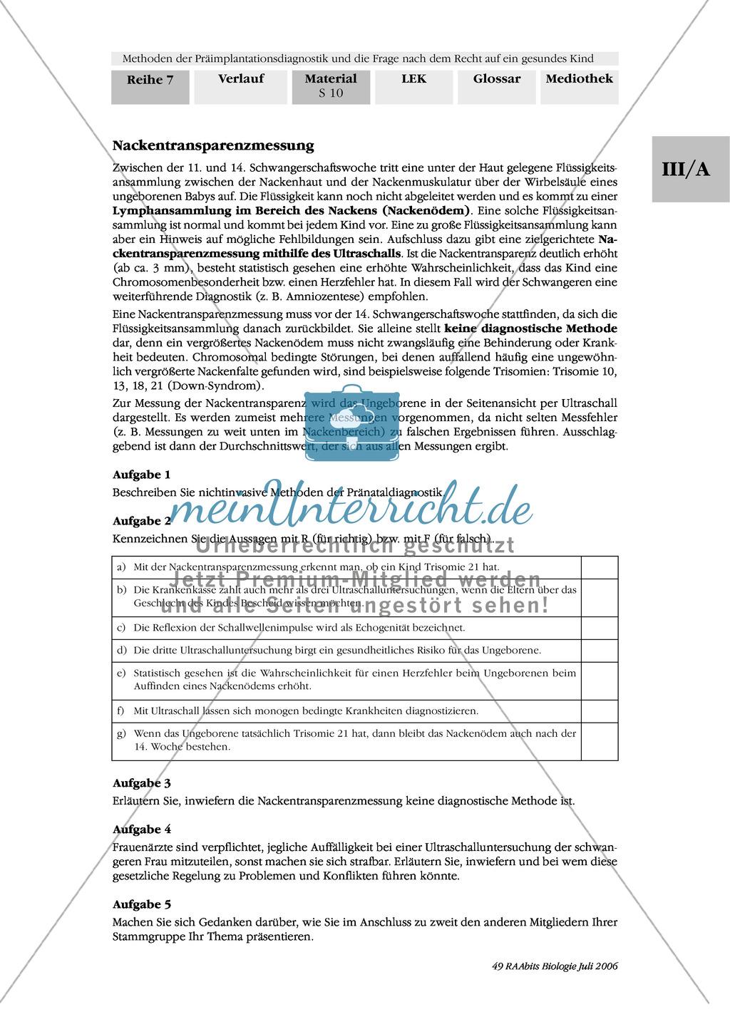 Text zur Entwicklung der befruchteten Eizelle und Gruppenpuzzle zur Präimplantationsdiagnostik und Pränataldiagnostik Preview 8