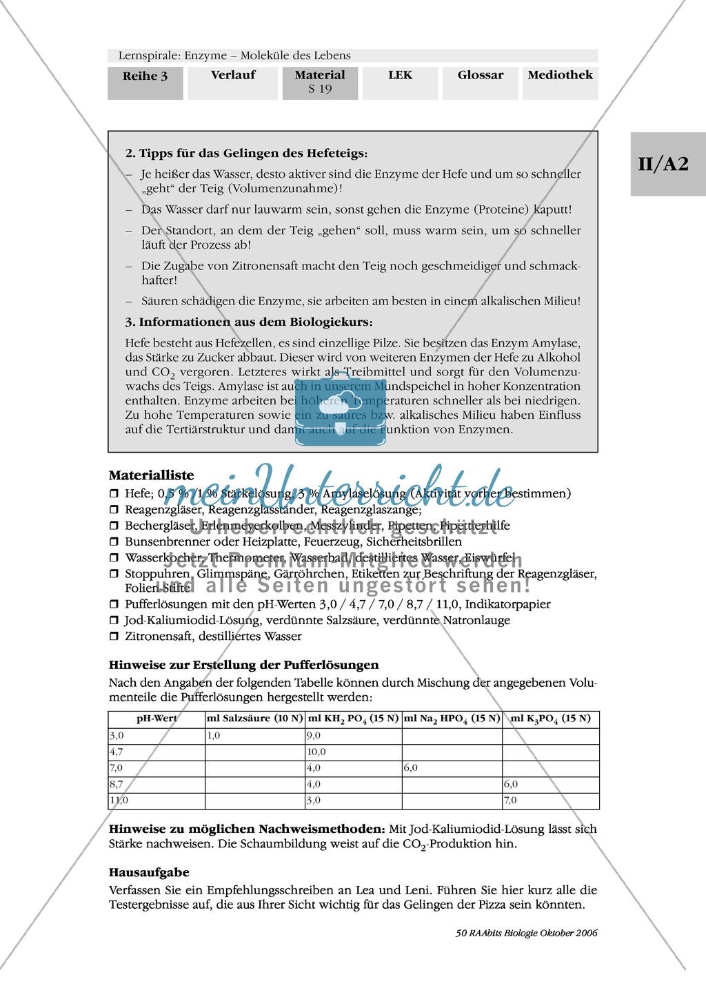 Enzyme: Arbeitsinseln zu den Themen Stoffwechsel, Enzymreaktionen, Hemmstoffe, Cofaktoren, Regulation Preview 12