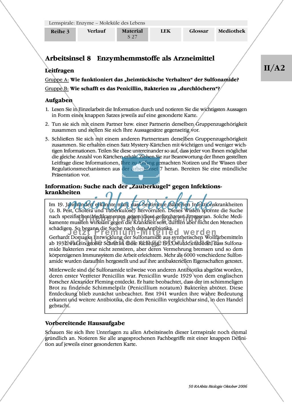 Enzyme: Arbeitsinseln zu den Themen Stoffwechsel, Enzymreaktionen, Hemmstoffe, Cofaktoren, Regulation Preview 20